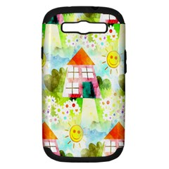Summer House And Garden A Completely Seamless Tile Able Background Samsung Galaxy S III Hardshell Case (PC+Silicone)