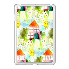 Summer House And Garden A Completely Seamless Tile Able Background Apple iPad Mini Case (White)