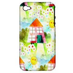 Summer House And Garden A Completely Seamless Tile Able Background Apple Iphone 4/4s Hardshell Case (pc+silicone)