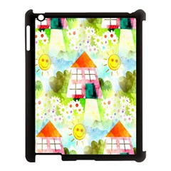 Summer House And Garden A Completely Seamless Tile Able Background Apple iPad 3/4 Case (Black)