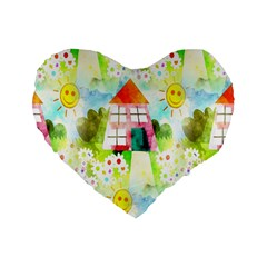Summer House And Garden A Completely Seamless Tile Able Background Standard 16  Premium Heart Shape Cushions