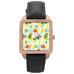 Summer House And Garden A Completely Seamless Tile Able Background Rose Gold Leather Watch