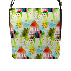 Summer House And Garden A Completely Seamless Tile Able Background Flap Messenger Bag (L)