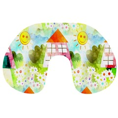 Summer House And Garden A Completely Seamless Tile Able Background Travel Neck Pillows