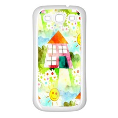 Summer House And Garden A Completely Seamless Tile Able Background Samsung Galaxy S3 Back Case (White)