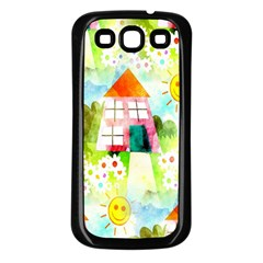 Summer House And Garden A Completely Seamless Tile Able Background Samsung Galaxy S3 Back Case (Black)