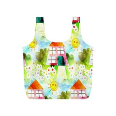 Summer House And Garden A Completely Seamless Tile Able Background Full Print Recycle Bags (S)