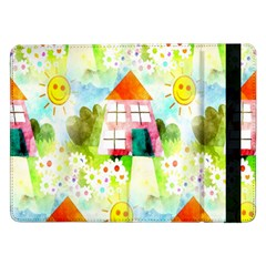 Summer House And Garden A Completely Seamless Tile Able Background Samsung Galaxy Tab Pro 12.2  Flip Case