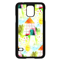 Summer House And Garden A Completely Seamless Tile Able Background Samsung Galaxy S5 Case (Black)