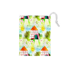Summer House And Garden A Completely Seamless Tile Able Background Drawstring Pouches (Small)