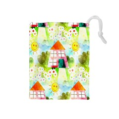 Summer House And Garden A Completely Seamless Tile Able Background Drawstring Pouches (Medium)