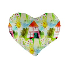 Summer House And Garden A Completely Seamless Tile Able Background Standard 16  Premium Flano Heart Shape Cushions