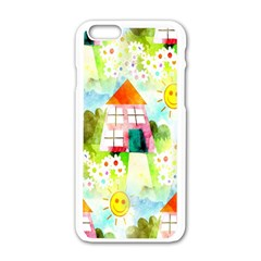 Summer House And Garden A Completely Seamless Tile Able Background Apple iPhone 6/6S White Enamel Case