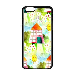 Summer House And Garden A Completely Seamless Tile Able Background Apple Iphone 6/6s Black Enamel Case