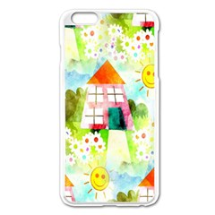 Summer House And Garden A Completely Seamless Tile Able Background Apple iPhone 6 Plus/6S Plus Enamel White Case