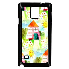 Summer House And Garden A Completely Seamless Tile Able Background Samsung Galaxy Note 4 Case (Black)