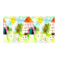Summer House And Garden A Completely Seamless Tile Able Background Satin Wrap