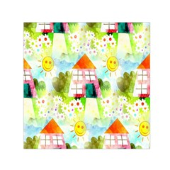 Summer House And Garden A Completely Seamless Tile Able Background Small Satin Scarf (Square)