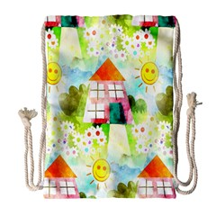Summer House And Garden A Completely Seamless Tile Able Background Drawstring Bag (Large)
