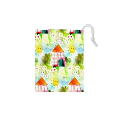 Summer House And Garden A Completely Seamless Tile Able Background Drawstring Pouches (xs)