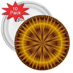 Fractal Yellow Kaleidoscope Lyapunov 3  Buttons (10 Pack)