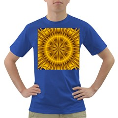 Fractal Yellow Kaleidoscope Lyapunov Dark T-Shirt