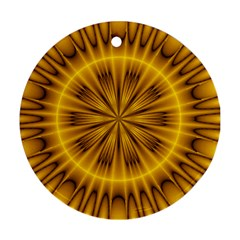 Fractal Yellow Kaleidoscope Lyapunov Round Ornament (two Sides)