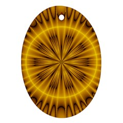 Fractal Yellow Kaleidoscope Lyapunov Oval Ornament (two Sides)