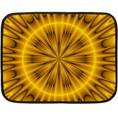 Fractal Yellow Kaleidoscope Lyapunov Fleece Blanket (mini)