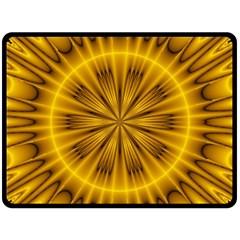Fractal Yellow Kaleidoscope Lyapunov Fleece Blanket (Large)