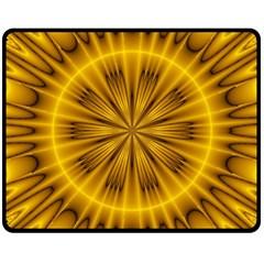 Fractal Yellow Kaleidoscope Lyapunov Double Sided Fleece Blanket (Medium)