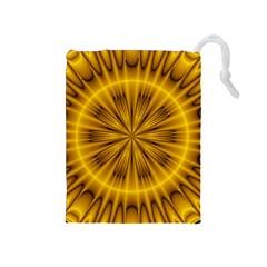 Fractal Yellow Kaleidoscope Lyapunov Drawstring Pouches (medium)