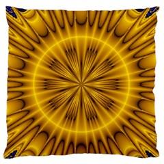 Fractal Yellow Kaleidoscope Lyapunov Large Flano Cushion Case (Two Sides)