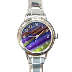 Fractal Color Stripes Round Italian Charm Watch