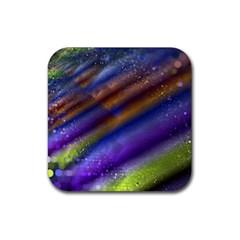 Fractal Color Stripes Rubber Square Coaster (4 Pack)
