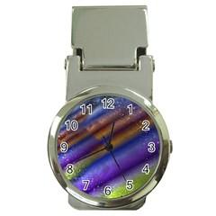 Fractal Color Stripes Money Clip Watches