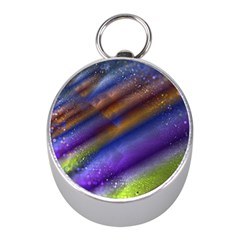 Fractal Color Stripes Mini Silver Compasses