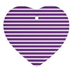 Horizontal Stripes Purple Heart Ornament (two Sides)