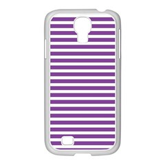 Horizontal Stripes Purple Samsung Galaxy S4 I9500/ I9505 Case (white)