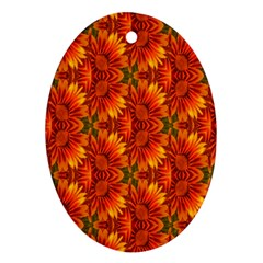 Background Flower Fractal Ornament (oval)