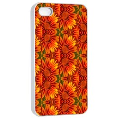 Background Flower Fractal Apple Iphone 4/4s Seamless Case (white)