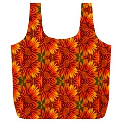 Background Flower Fractal Full Print Recycle Bags (L)