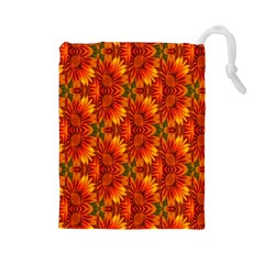 Background Flower Fractal Drawstring Pouches (Large)
