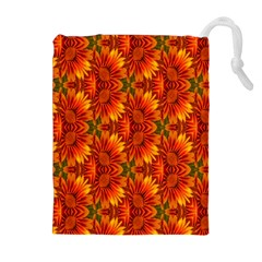 Background Flower Fractal Drawstring Pouches (Extra Large)