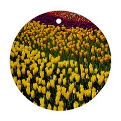 Colorful Tulips In Keukenhof Gardens Wallpaper Ornament (round)