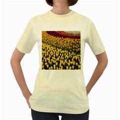 Colorful Tulips In Keukenhof Gardens Wallpaper Women s Yellow T Shirt