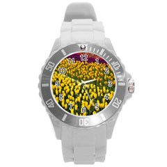 Colorful Tulips In Keukenhof Gardens Wallpaper Round Plastic Sport Watch (L)