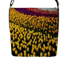 Colorful Tulips In Keukenhof Gardens Wallpaper Flap Messenger Bag (l)