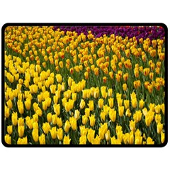Colorful Tulips In Keukenhof Gardens Wallpaper Double Sided Fleece Blanket (Large)
