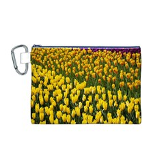 Colorful Tulips In Keukenhof Gardens Wallpaper Canvas Cosmetic Bag (m)